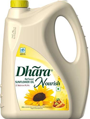 Dhara Refined Sunflower Oil, 5L, DEL