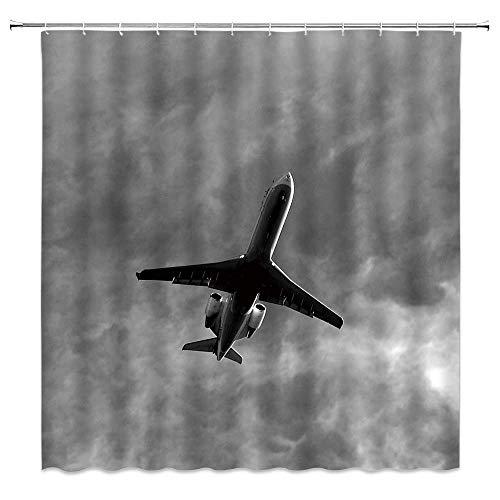 NA Flugzeug Duschvorhang Flugzeug Flying Aviation AMD Grauer Himmel Stoff Badezimmer Dekor Vorhang mit Haken,