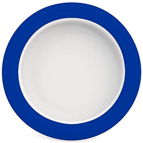 Ornamin Teller mit Kipp-Trick Ø 20 cm blau | Spezialteller mit Randerhöhung für selbstständiges Essen | Esshilfe, Melamin, Anti-Rutsch Teller, Tellerranderhöhung