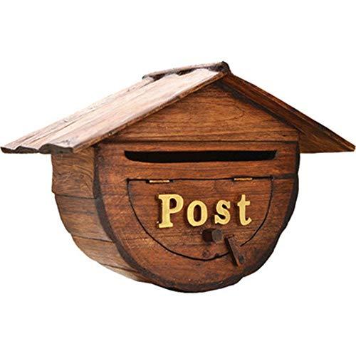 Postbus Muurmontage Decoratie Mail Box Creatieve Semicirkel Retro Postbussen Verticale Outdoor Klassieke Houten Postbus Modern Huis Buiten Brievenbus Voor Huis En Kantoor Voor Tuin Buiten Student Apart