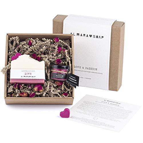 Almara Soap - Kosmetik Beauty-Set - Love & Passion, Naturkosmetik für Frauen, Pflegeset, Lippenbalsam, Designseife, Zero-Waste, handgemacht