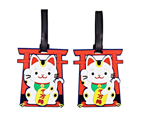 Maneki-Neko Lucky Cat Waving Arm Luggage ID Tags for Travel Bags, Pack of 2, 5.75 Inches