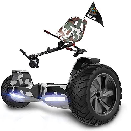 RCB Patinete Eléctrico Hoverboard 8,5' y Hoverkart Scooter Todo Terreno a Prueba de Golpes Antichoque SUV con LED Bluetooth Hoverseat Silla Asiento para Adultos y Adolescentes