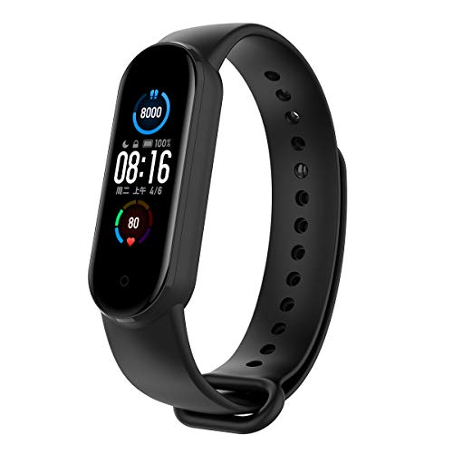 PINHEN Watch Band Compatible with Xiaomi Mi Band 5,Replacement Soft Silicone Wristband Sport Wristband Strap Bracelet Fit Xiaomi Mi Band 5 Smart Watch (Black)