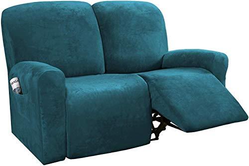 Fundas reclinables Fundas reclinables Funda para sofá Funda para sofá 6 piezas Protector de muebles Sofá Terciopelo rico Felpa Forma Ajuste Estiramiento Elegante Suave (verde azulado profundo)