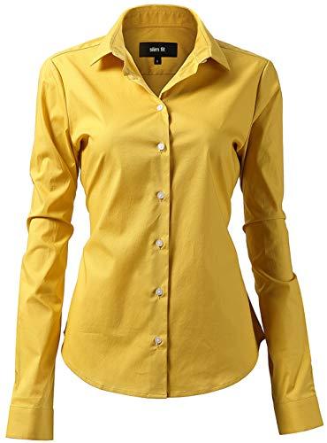 INFLATION Damen Hemd mit Knöpfen Baumwolle Bluse Langarmshirt Figurbetonte Hemdbluse Business Oberteil Arbeithemden Gelb 38/12