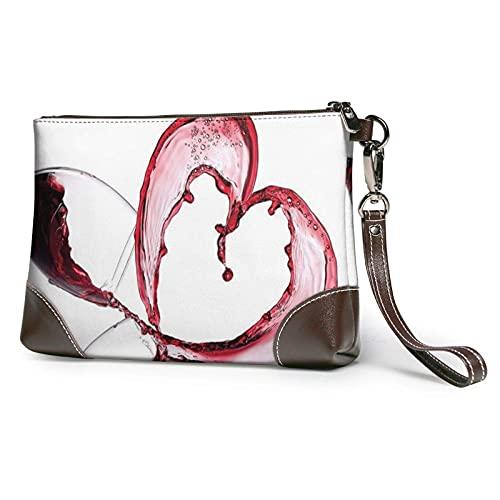 Yaxinduobao Bolso de mano con estampado de corazón de vino tinto 3d, bolso de mano de cuero desmontable, bolso de mano para mujer