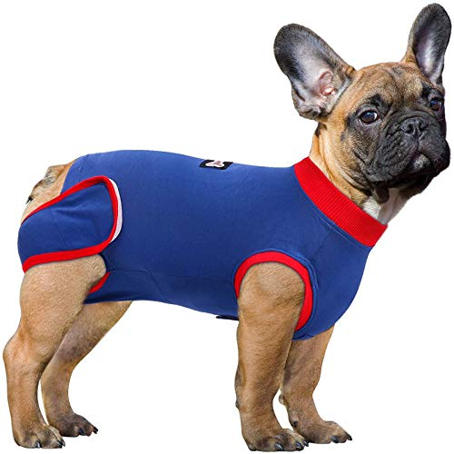 SAWMONG Recovery Suit for Dogs Cats After Surgery, Cone E-Collar Alternative Anti-Licking for Post Surgery, Recovery Shirt Abdominal Wound Protector, Anti Anxiety Relief for Pet (M)