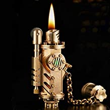 Antique Vintage Oil Refillable Lighters,Creative Cool Retro Cigarette Lighters for Collection,Detachable Heavy Machinery Pure Copper Lighter