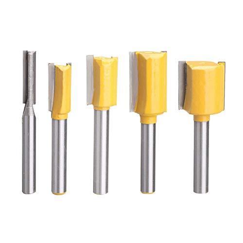 GGkeging 5 brocas de vástago de 1/4 para rebajadora recta, para cortar carpintería, herramienta de perfilado de bordes.