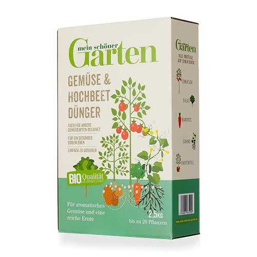 Mein schöner Garten Gemüse - & Hochbeetdünger 2,5kg – Zulässig für den Bio-Anbau – Dünger für Gemüse – Kräftigender Dünger - Organisch - 3 Monate Langzeitwirkung - Unbedenklich für Natur und Tiere