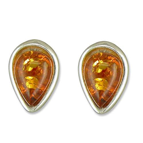 925 Sterling Silver Small Cognac Amber Teardrop Stud Earrings