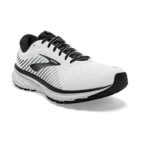 Brooks Mens Ghost 12 Running Shoe - White/Grey/Black - D - 10.5