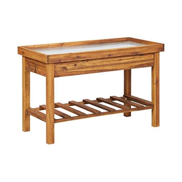 Cfg Tavolo Per Piante Con Piano Di Lavoro In Zinco E Spazio Per Giardino Terrazza Giardino Terrazza Balcone Legno Massello 100 X 50 X 60 Cm Trovachollo