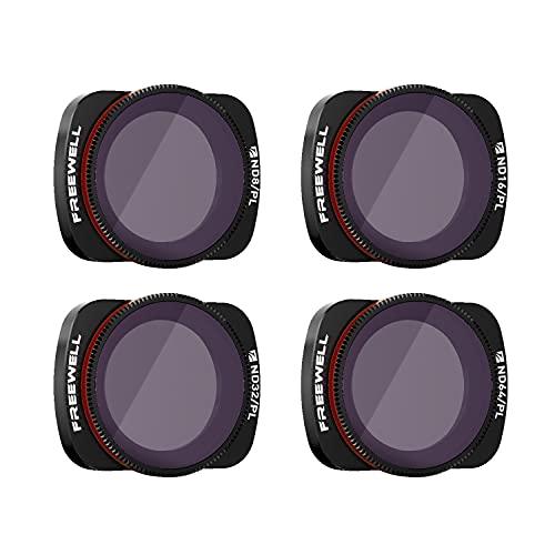 Freewell Bright Day-4K Series-4 Unidades ND8/PL, ND16/PL, ND32/PL, ND64/PL Filtros Lente Cámara Compatibles con Osmo Pocket, Pocket 2