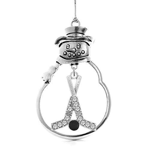 Inspired Silver - Hockey Sticks & Puck Charm Ornament - Silver Customized Charm Snowman Ornament with Cubic Zirconia Jewelry