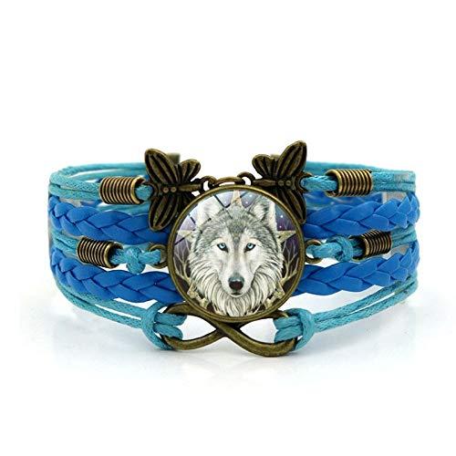 Keltische Wolf Foto Charm Armband Glas Cabochon Schmetterling Infinity Schmuck Weben Mehrschicht Leder Armband Armreif Für Frauen