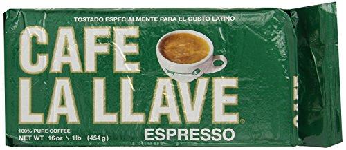 Café La Llave Espresso 100% Pure Coffee, Dark Roast Espresso, 16 Ounce Brick