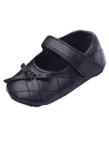 YICHUN Bébé Filles Chaussures de Premier Pas Chausson Chaussures de Princesse Chaussures Souples (Longueur de Semelle:13CM, Noir)