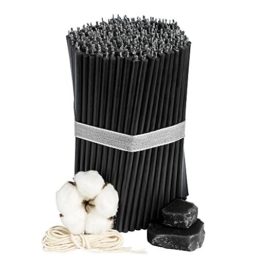 Diveevo - 250 candele rituali sottili in cera d'api, colore nero, 165 mm, Ø 5,7 mm, durata 50 minuti