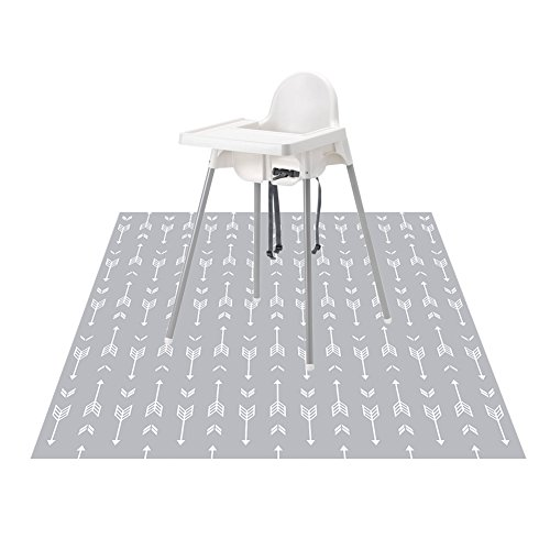 """51"""" Splat Mat for Under High Chair/Arts/Crafts, WOMUMON Baby Washable Spill Mat Waterproof Anti-Slip Floor Splash Mat, Portable Play Mat and Table Cloth (Arrow, 51"""")"""