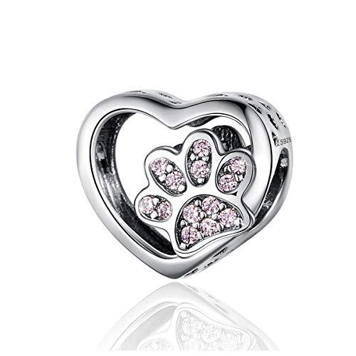 Charm a forma di zampa di cane a forma di cuore in argento Sterling 925 con animale domestico, adatto per braccialetti Pandora, gioielli e amanti degli animali