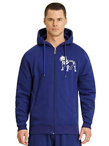Amstaff Männer Logo 2.0 Zip-Hoodie Kapuzenpullover Blau/Weiß 3XL