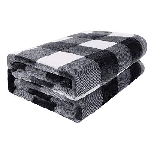 PiccoCasa Karierte Decke Wolldecke Große Decke Tagesdecke Fleecedecke Warme & weiche Wohn- & Kuscheldecke als Sofadecke/Couchdecke Sofaüberwurf Schwarz&Weiß 75x100cm