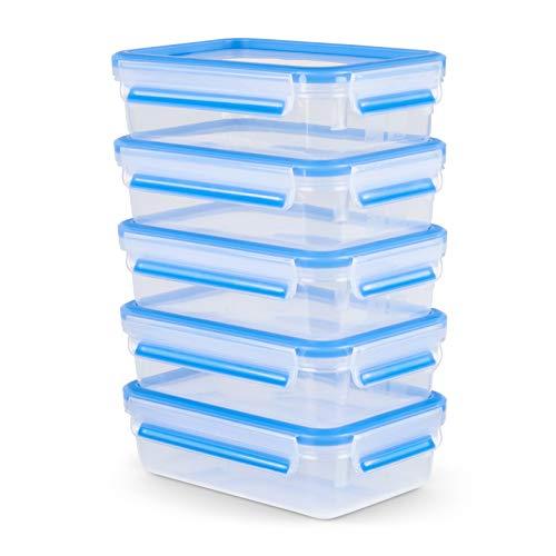 Emsa Clip & Close Frischhaltedose Mealprep-Set N1030700 | 5-teiliges Set | Vorratsdosen | 0,8 Liter | 100% dicht + hygienisch | Frische Dichtung | Spülmaschinen-, Mikrowellen-, und Gefriergeeignet