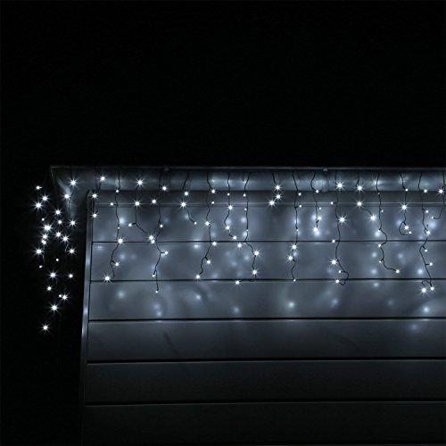 CLGarden - Filo di luci per Esterni e Interni, Effetto nevischio, con 200/400/600 LED, Colore: Bianco Freddo o Bianco Caldo