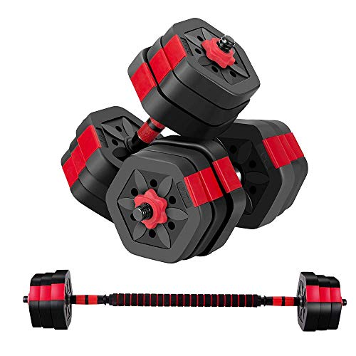 BRAVE HEART Adjustable Dumbbell Barbell Weight Pair Total 44 LBS, Dumbellsweights Set, Free Weights Dumbbells 2 in 1 Sets with Connector, Adjustable Weights Dumbbells Set for Home Gym