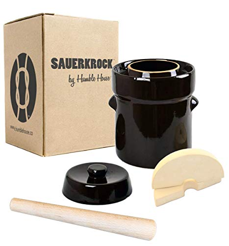 Humble House SAUERKROCK Fermentation Crock with Glazed Weights and Cabbage Tamper - 2 Liter (0.5 Gallon) German-Style Water Sealed Jar in Traditional Brown for Fermenting Sauerkaut, Kimchi, Pickles