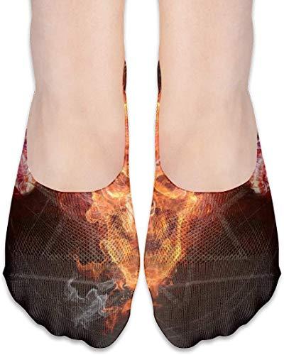 not applicable No Show Socken, Flaming Skull Ziege beiläufige unsichtbare Flache Socken, atmungsaktiv Anti-Geruch Low Cut Women Cotton Sox, Anti-Rutsch-Liner Socke