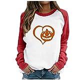 Sheey Halloween Calabaza Imprimir Camiseta para Mujer Otoño Extravagante Casual Sudadera Invierno Manga Larga Cuello Redondo Acolchado Jersey Camisa para Fiesta