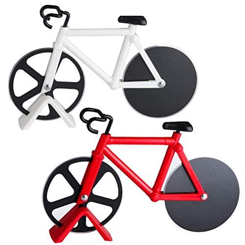 WENTS Fahrrad Pizzaschneider 2 Stücke Pizzaschneider Fahrrad, Pizza Cutter aus Edelstahl Räder, Cutter für Pizza & Teig, Antihaftbeschichtung, Spülmaschinenfest (Weiß, Rot)