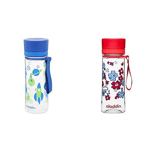 Aladdin Aveo Trinkflasche für Kids, aus Tritan-Kunststoff, 0.35 Liter, Blau, Auslaufsicher, Durchsichtig & Aveo Trinkflasche aus Tritan-Kunststoff, 0.35 Liter, Rot, Auslaufsicher, Durchsichtig