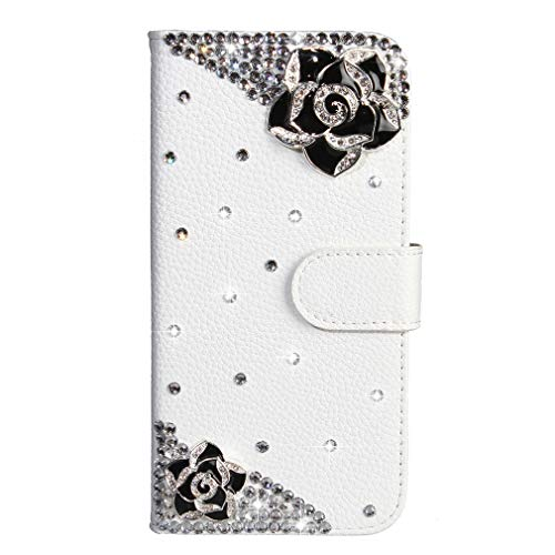 LMFULM® Hülle für Honor 5C / Huawei 7 Lite/Huawei GT3 (5,2 Zoll) PU Leder Magnet Brieftasche Lederhülle Bling Glitter Strass Rose Stent-Funktion Tasche Flip Cover