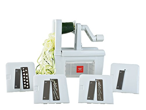 Paderno World Cuisine 4-Blade Folding Vegetable Slicer/Spiralizer Pro, Counter-Mounted