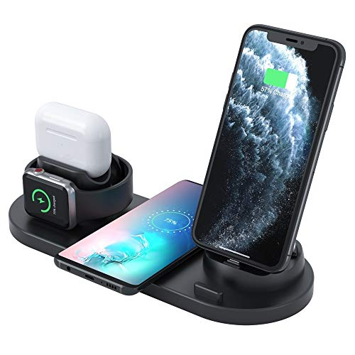 ZUEN Upgraded 4 in 1 Wireless Charger For iPhone, Apple Watch, AirPods and Other Android Phones (Color : Black)