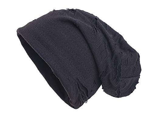 Shenky - Long Bonnet Effet Vieilli/déchiré - Jersey - Noir