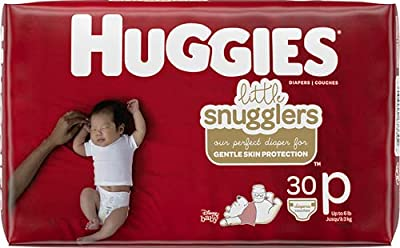 Baby Diapers Size Preemie, 30 Ct, Huggies Little Snugglers by Kimberly-Clark Corp.