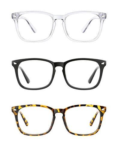 TIJN Eyeglasses for Women Men 3 Pack Stylish Square No Prescription Glasses Clear Lens Eyewear