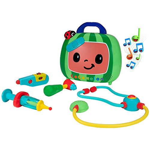 CoComelon Official Musical Checkup Case, Plays Clips from 'Doctor Checkup' Song – Includes 4 Themed Medical Doctor Accessories (Thermometer, Syringe, Stethoscope, and More) for Fun Role Play