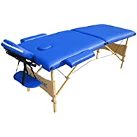Camilla de masajes fisioterapia, Plegable, Madera y polipiel, 186x60 cm, Portátil, Modelo CM-01, Azul, Mobiclinic