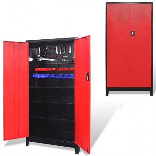 Festnight Armadio Portautensili/Porta Attrezzi da Lavoro/Officina con 2 Ante in Acciaio 90x40x180 cm Nero e Rosso