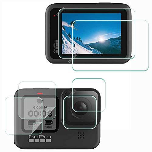 ULBTER GoPro Hero9 LCD + Objektiv + Klein Screen Displayschutzfolie Schutzfolie für GoPro HERO 9 Actioncam Black , ULBTER 9H Härte LCD Gehärtetes Glas Kratzfest [ 6 Stück]