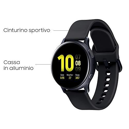 Samsung Galaxy Watch Active2 Smartwatch Bluetooth 40 mm in Alluminio e Cinturino Sport, con GPS, Sensore di Frequenza Cardiaca, Tracker Allenamento, IP68, Nero (Aluminium Black), Versione Italiana