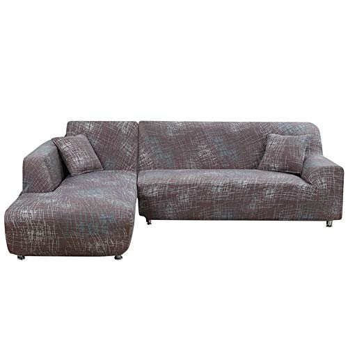 Jian Ya Na L Shape Stretch Sofa Covers Polyester Spandex Fabric Slipcover 2pcs Polyester Fabric Stretch Slipcovers + 2pcs Pillow Covers for Modern Sectional Sofa Couch Brown