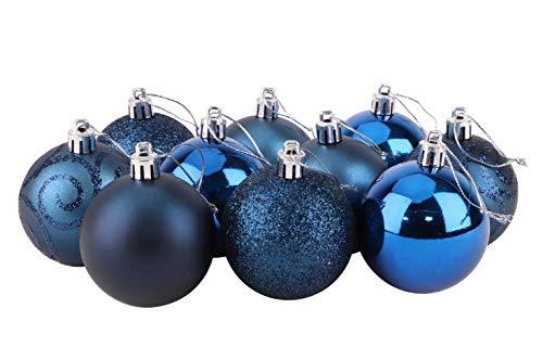 Christmas Concepts Confezione di Palline di Albero di Natale da 10-60 mm - Baubles Decorati Lucidi, opachi e Glitterati (Blu Notte)