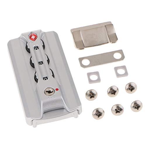 IPOTCH Candado de Combinación Digital de Aluminio TSA 3 con Código de Viaje para Equipaje, Plateado